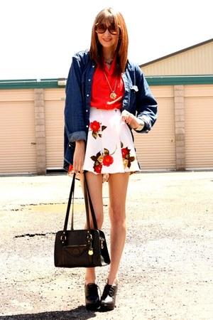 red vintage blouse - cream vintage shorts - navy Wrangler top