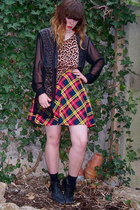 black thrifted boots - black H&M socks - red plaid mini vintage skirt - light or