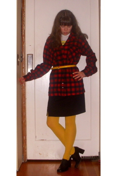 American Apparel t-shirt - tights - Goodwill skirt - Pendleton shirt - hillard &