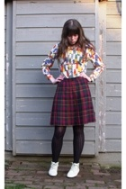 vintage blouse - vintage skirt - Urban Outfitters tights - thrifted boots