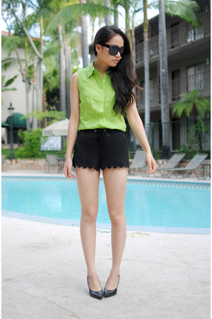 black H&M shorts - lime green vintage shirt