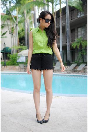 black H&M shorts - lime green vintage shirt