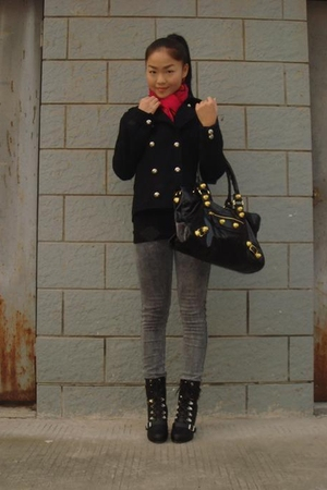 black jacket - red scarf - gray jeans - black shoes