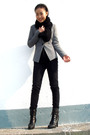 Black-h-m-scarf-silver-blazer-american-apparel-jeans-shoes