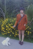 orange vintage jacket - brown Jeffrey Campbell shoes - black coach accessories -