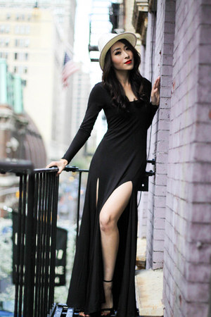 black Urban Outfitters dress - white Saks Fifth avenue hat