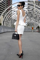 white peplum Topshop dress - black patent Louis Vuitton bag