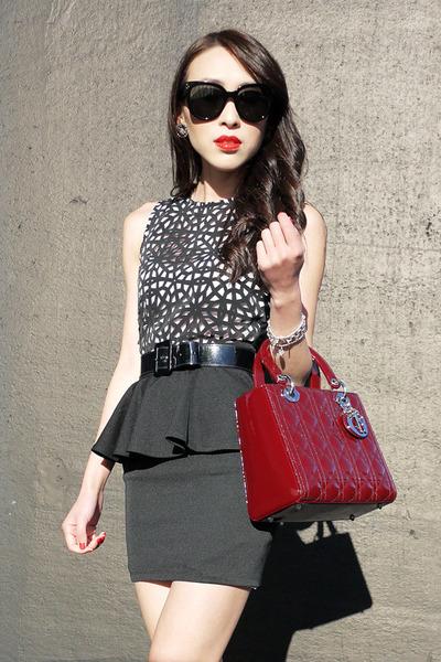 ruby red patent christian dior bag - white laser cut asos dress