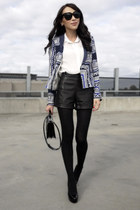 black leather Forever New shorts - blue printed Zara blazer