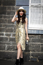 gold lace Zimmermann dress - black patent karl boots