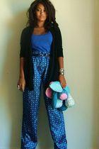 blue Goodwill pants - black kohls cardigan - blue H&M shirt - blue Goodwill acce