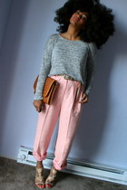light pink Goodwill pants - silver TJMaxx sweater - tawny Goodwill bag