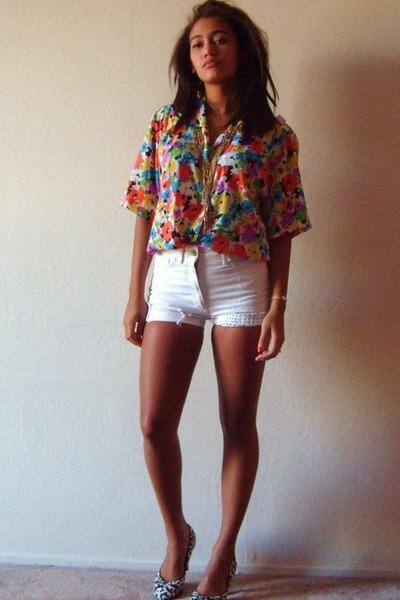 red Goodwill blouse - white H&M shorts - black white house black market from goo