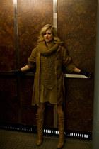 camel Mango jacket - camel vintage boots - camel Zara dress - camel Zara scarf