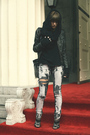 black Zara shoes - gray Urban Outfitters jeans - black Zara jacket
