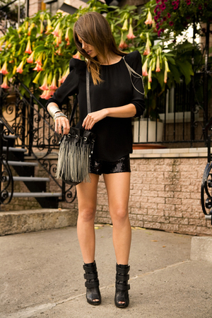 black Zara top - black Aldo shoes - black Zara shorts