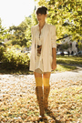 pink Zara blazer - brown vintage boots - beige Urban Outfitters dress