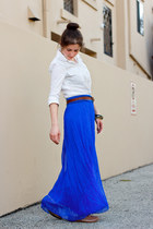 blue maxi skirt Max & Mia skirt - white white chambray Forever 21 shirt