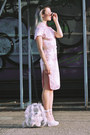 Light-pink-chinese-from-paris-dress-silver-silk-bomber-vinatge-jacket