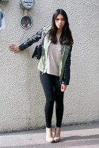 olive green Pull and Bear jacket - black Moschino bag - cream H&M top