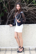 white Zara dress - navy H&M jacket - black Moschino bag - black Forever 21 heels