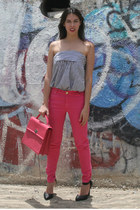pink Louis Vuitton bag - hot pink Zara jeans - charcoal gray Lemon Style blouse