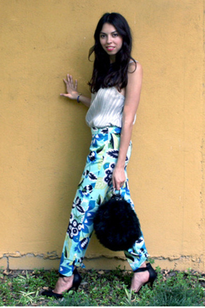 black faux fur Zara bag - sky blue flower print Zara pants