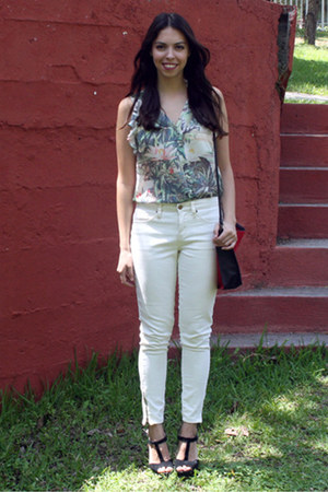 lime green H&amp;M blouse - white Forever 21 jeans - ruby red Forever 21 bag