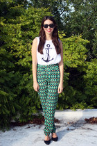 green vintage pants - white Sasha t-shirt - black Forever 21 heels