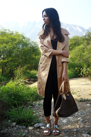 tan Marciano coat - black Uniqlo leggings - brown Louis Vuitton bag