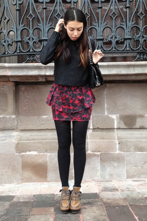 ruby red peplum Forever 21 skirt - burnt orange Forever 21 boots