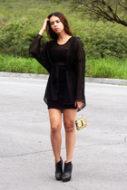 gold Juicy Couture bag - black Zara boots - black BCBG dress