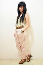 brown top - pink pants - brown shoes - brown belt