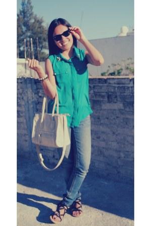 cream bag - teal blouse