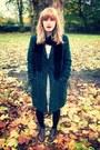 Leather-topshop-boots-lace-h-m-dress-dark-green-boyfriend-debenhams-coat