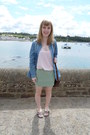 Denim-topshop-shirt-mini-vintage-skirt-cami-nude-dorothy-perkins-top
