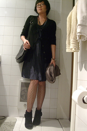 SANDRO dress - Uniqlo sweater - H&amp;M tights - we who see shoes - Hayden Harnett p