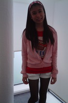 white shorts - hot pink cardigan - ruby red t-shirt - black stockings