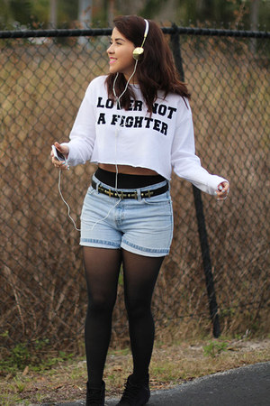 white crop top Forever 21 top - black Betsey Johnson tights