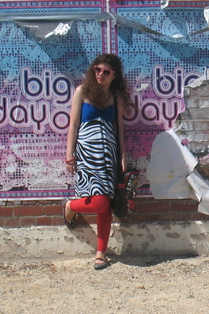 white dress - red tights - red sunglasses - black Keds shoes - red bracelet - bl