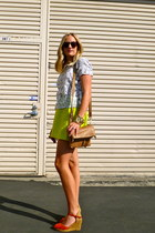 Jcrew bag - Jcrew skirt - Gaimo Espadrille wedges - madewell blouse