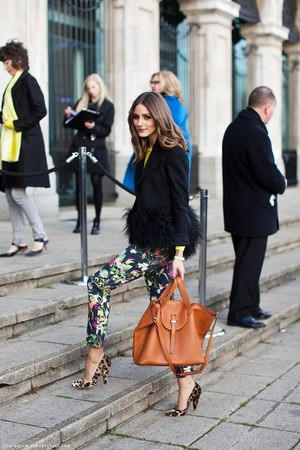 black ruffle blazer - yellow shirt - floral print Topshop pants