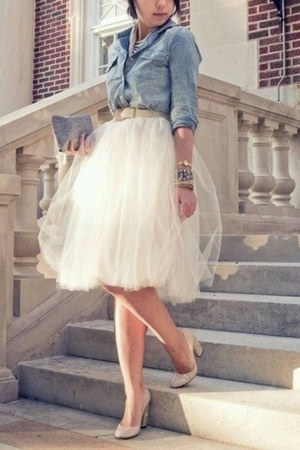 denim shirt - sheer skirt