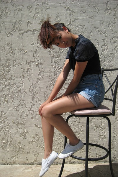 blue Forever 21 blouse - white Keds shoes - blue Levis shorts