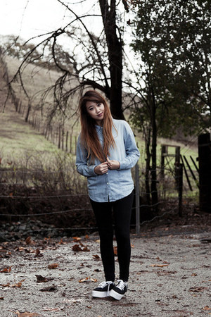 light blue chambray bycorpus shirt - black basic cotton H&M leggings
