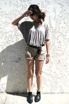 beige batwing blouse blouse - black wingtips thrifted shoes