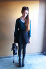 Dark-green-cotton-mossimo-sweater-white-silk-vintage-shirt
