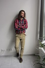 Brown-pull-bear-shoes-beige-pull-bear-jeans-ruby-red-mustang-shirt