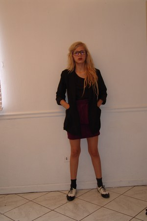 Steve Madden shoes - back to basics blazer - Zara socks - back to basics skirt -