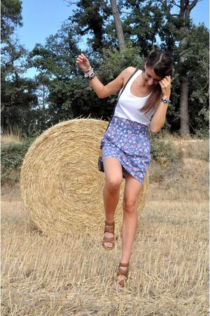 pull&bear dress - hippie market bag - brown Zara shoes